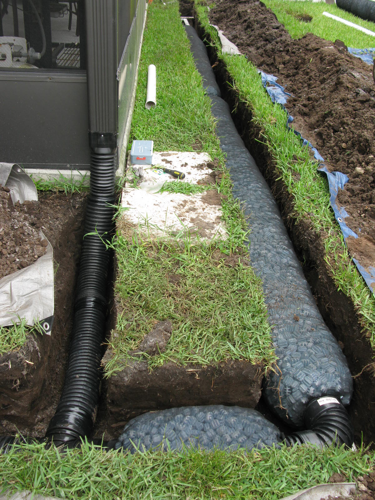Connect downspouts into French Drain for greater efficiency