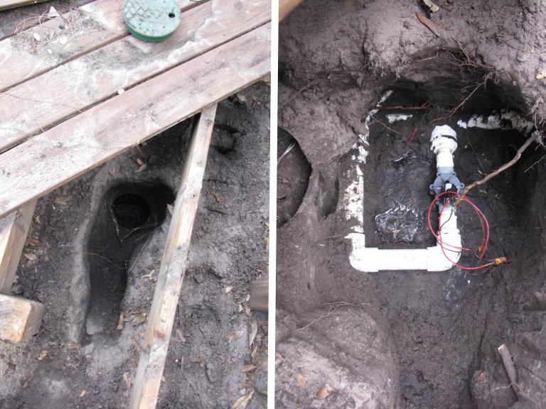 irrigation valve buried under deck